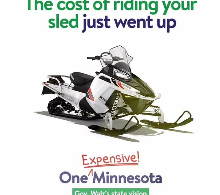 Under Gov Walz's budget snowmobiling is going to be a heck of a lot more expensi…